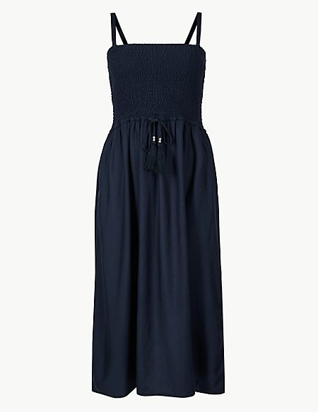Shirred Midi Beach Dress