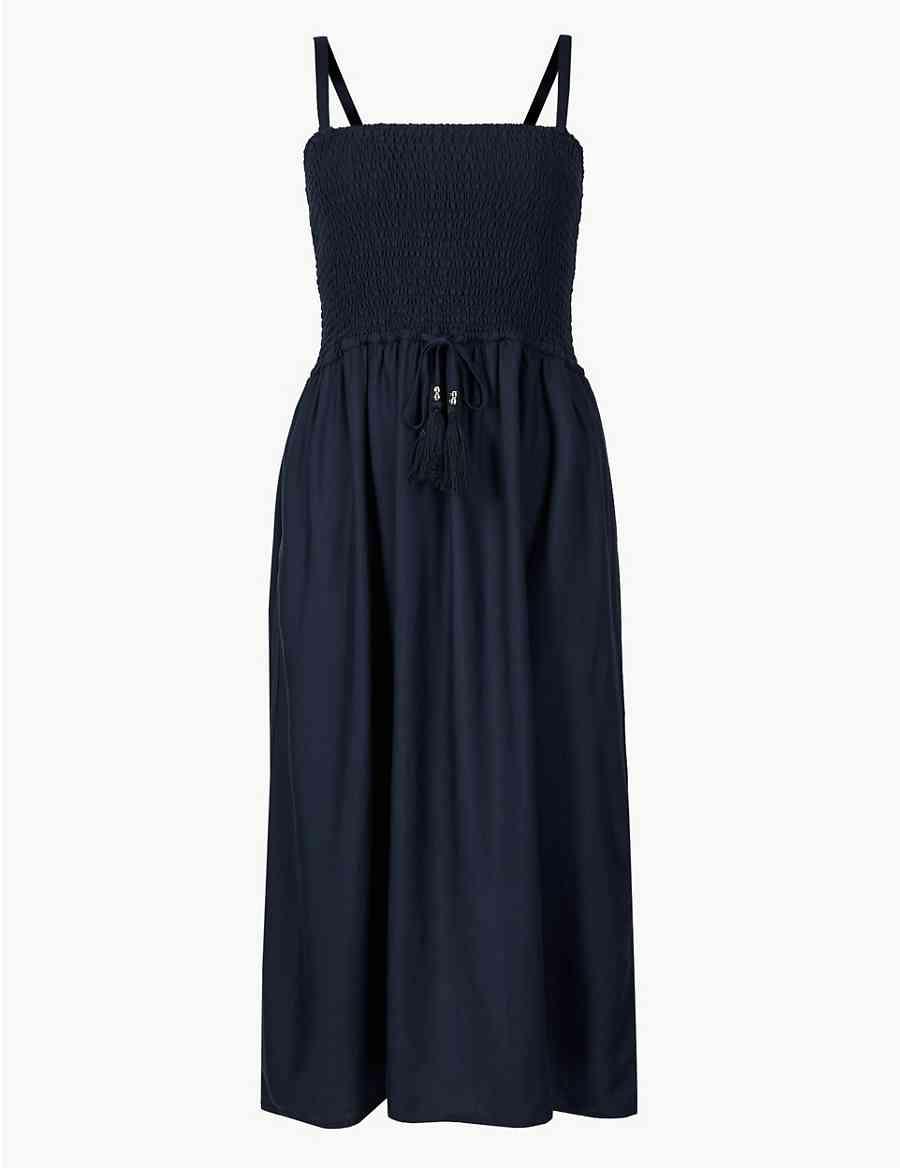 0f8203725acb Shirred Midi Beach Dress