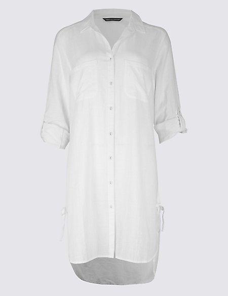 Marks & Spencer Pure Cotton Dipped Hem Beach Dress - - 8 Online Cheap vn6W64W