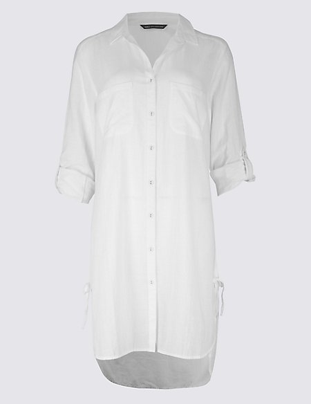 Pure Cotton Long Sleeve Beach Dress