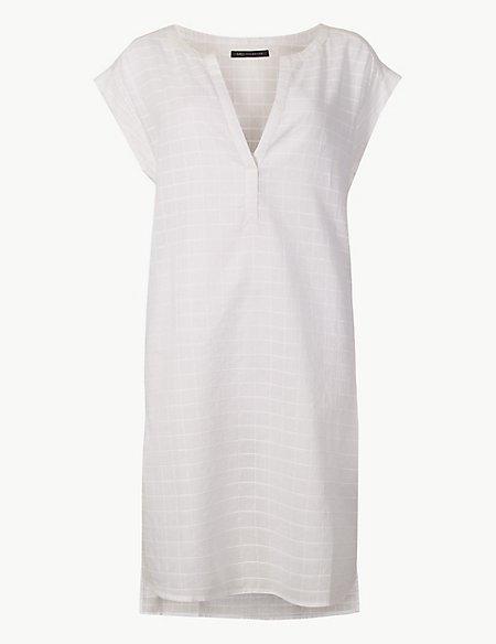 Pure Cotton Short Sleeve Shift Beach Dress