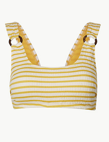 Striped Square Neck Bikini Top