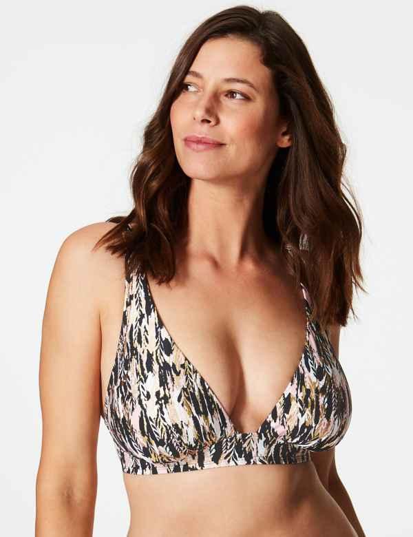 Feather Print Non-Wired Plunge Bikini Top DD+ f2aad82594d