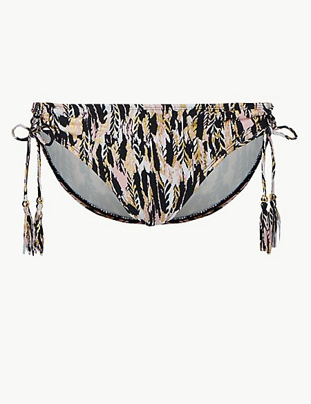 Feather Print Tie Side Hipster Bikini Bottoms