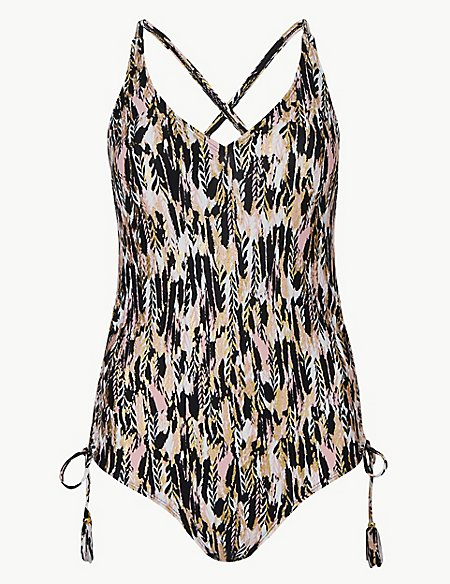 Feather Print Plunge Swimsuit