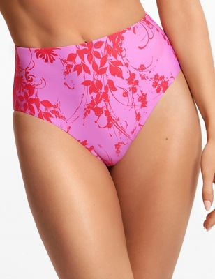 Floral Print High Waisted Bikini Bottoms