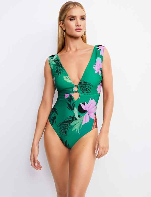 5fd23e1734 Secret Slimming™ Floral Print Plunge Swimsuit