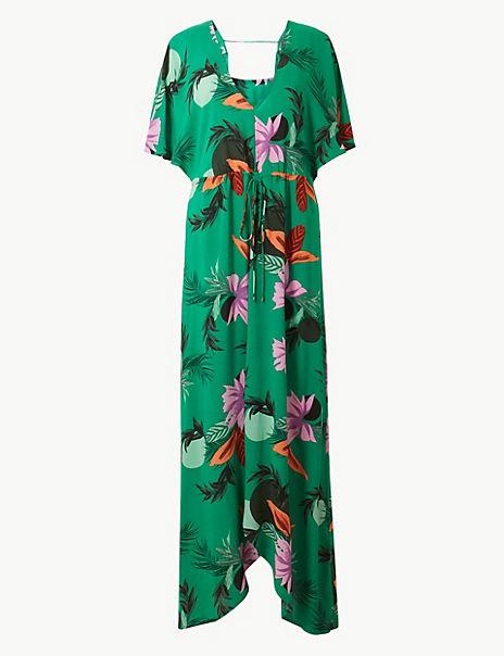 Floral Print Plunge Swing Beach Dress