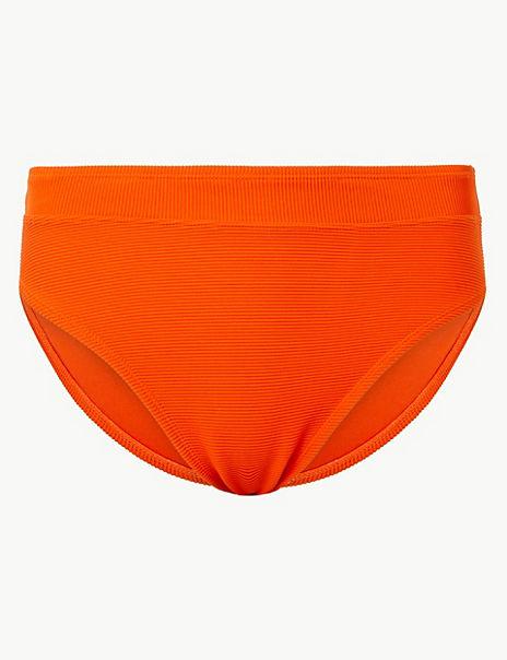 Ribbed High Leg Bikini Bottoms