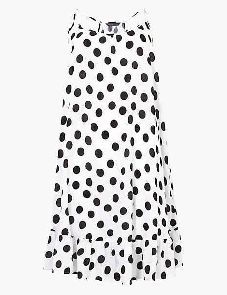 Spotted Flippy Slip Beach Dress
