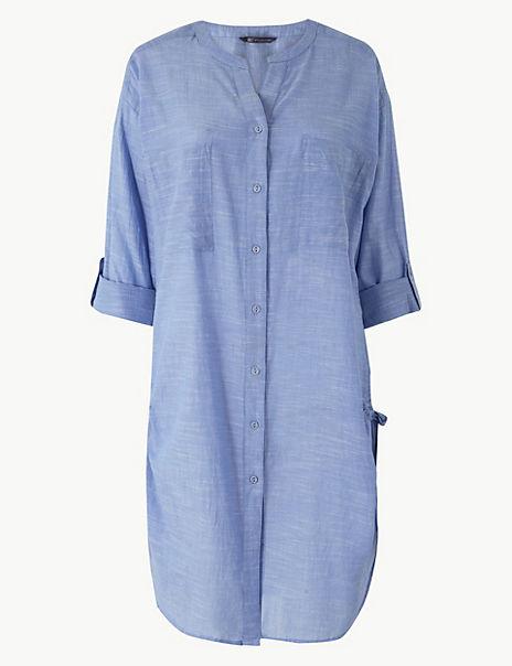 Pure Cotton Long Sleeve Beach Dress