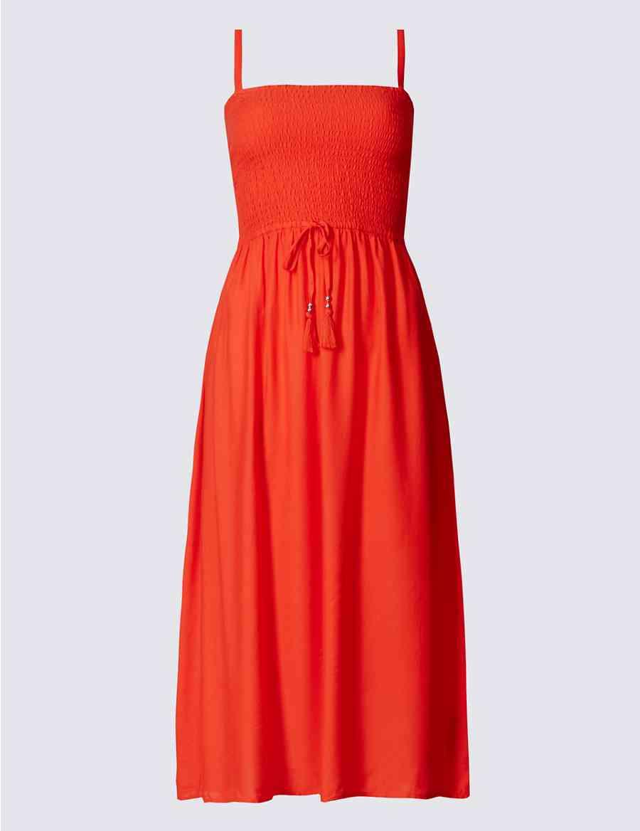 e0874275c13b Shirred Detail Midi Beach Dress
