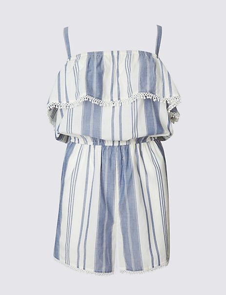 Pure Cotton Striped Playsuit