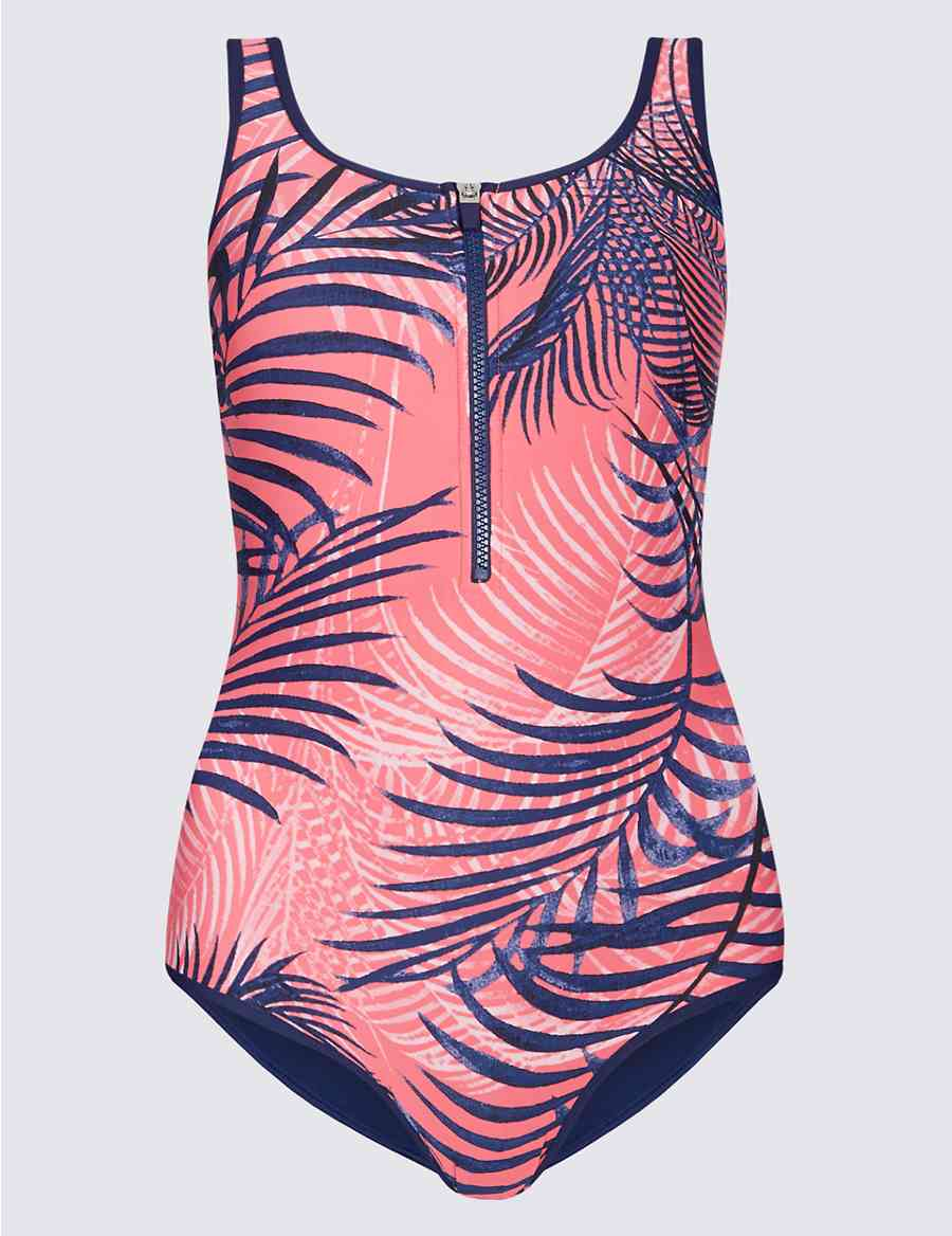 c520eb5493 Secret Slimming™ Zip-Up Printed Swimsuit