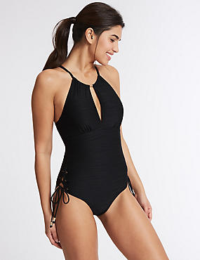 Secret Slimming™ High Neck Padded Swimsuit, BLACK MIX, catlanding