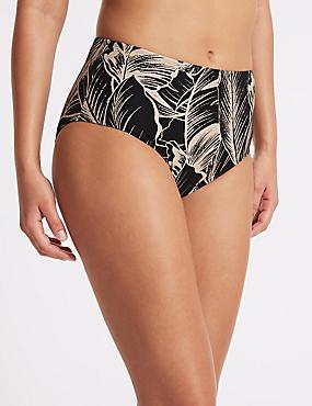 Printed High Waist Swim Bottoms