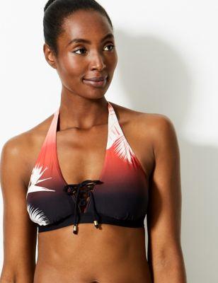 Printed Lace up Plunge Bikini Top