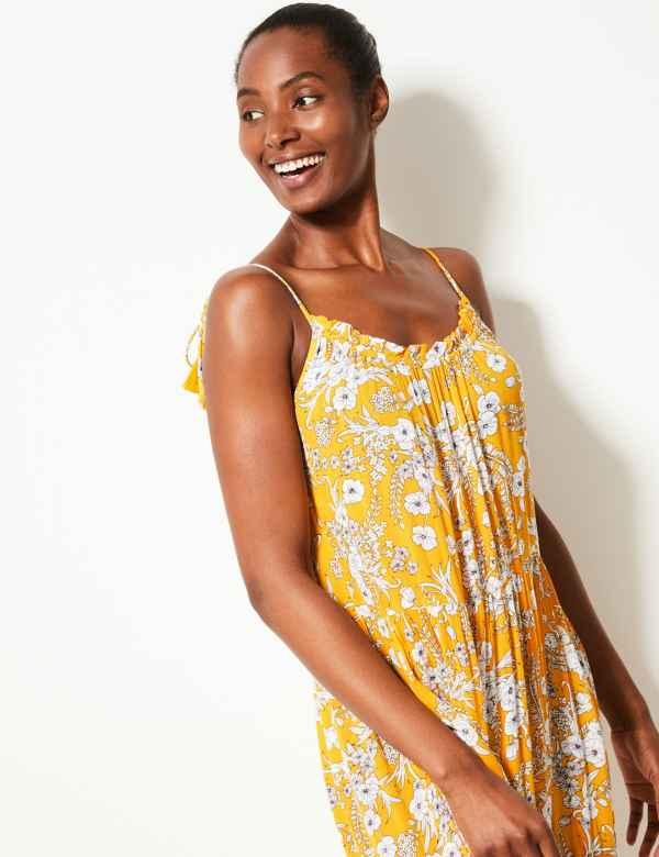 47b90f4323 Floral Print Crinkle Slip Beach Dress