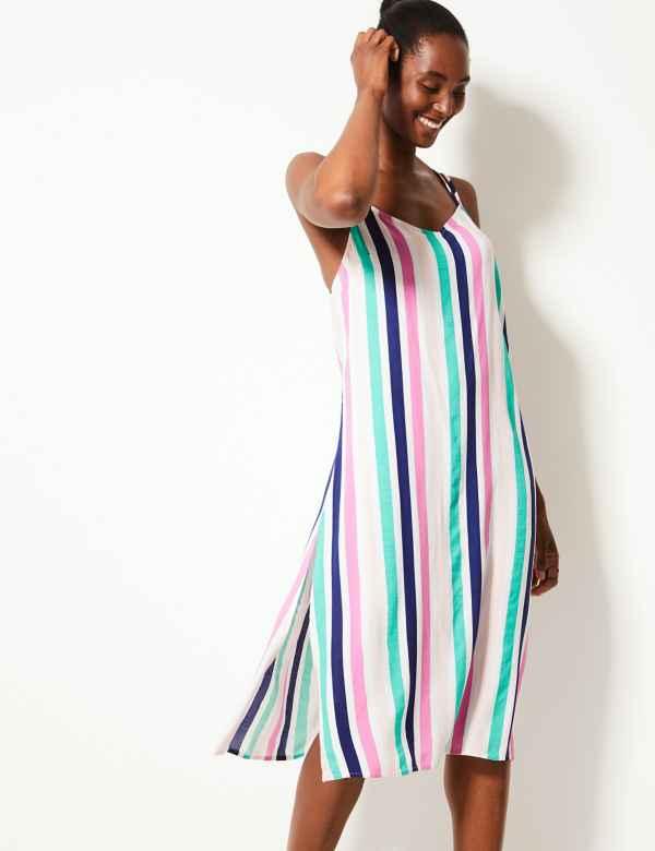 1dc9dbfbbe3 Striped Slip Beach Dress. M S Collection