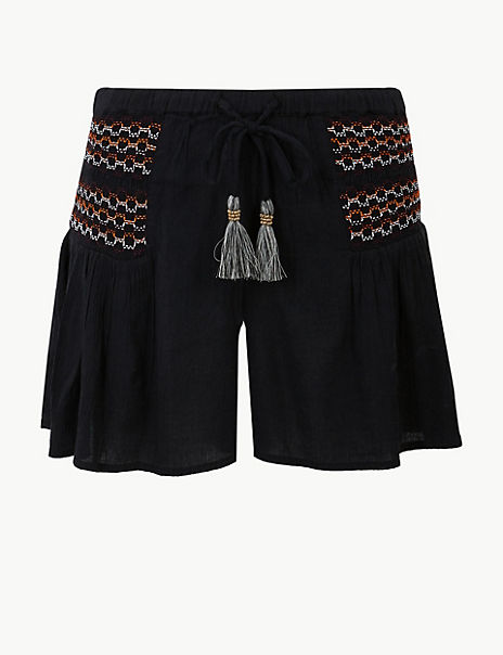 Embroidered Woven Beach Shorts