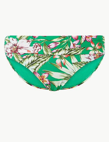 Floral Print Roll Top Bikini Bottoms