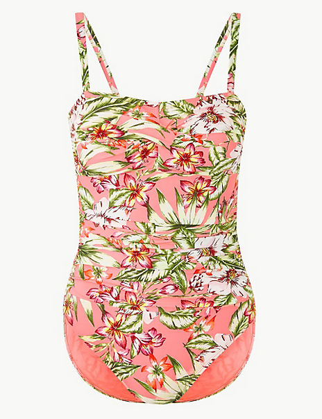 Secret Slimming™ Floral Print Bandeau Swimsuit