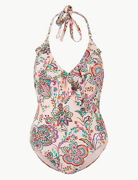 Floral Print Non-Wired Plunge Swimsuit