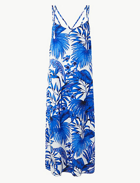 Palm Print Strappy Slip Beach Dress