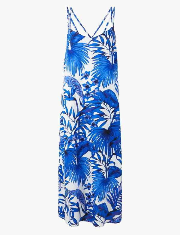 a031e20e56 Palm Print Strappy Slip Beach Dress. M S Collection