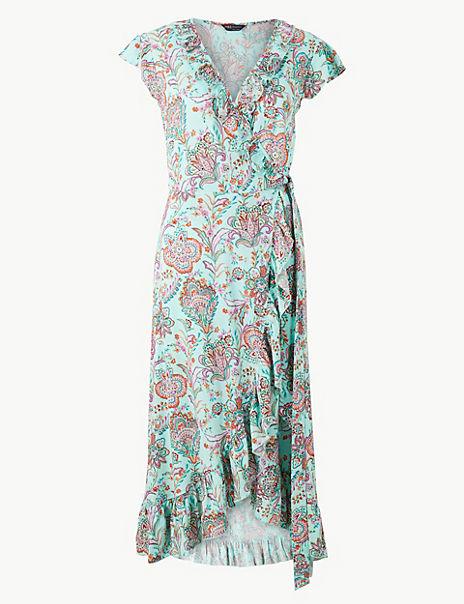 Paisley Print Wrap Beach Dress