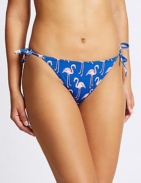 Flamingo Print Hipster Bikini Bottoms