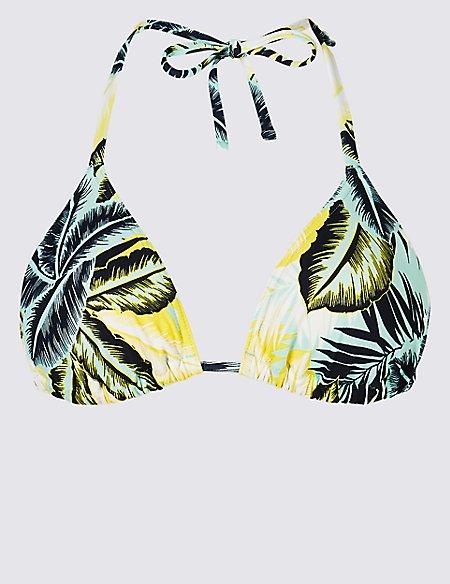 Palm Print Triangle Bikini Top