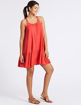 Woven Flippy Beach Dress , PINK, catlanding