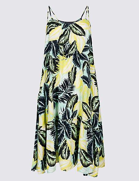 Palm Print Woven Beach Dress