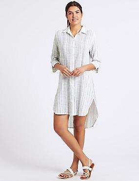 Pure Cotton Striped Shirt Dress