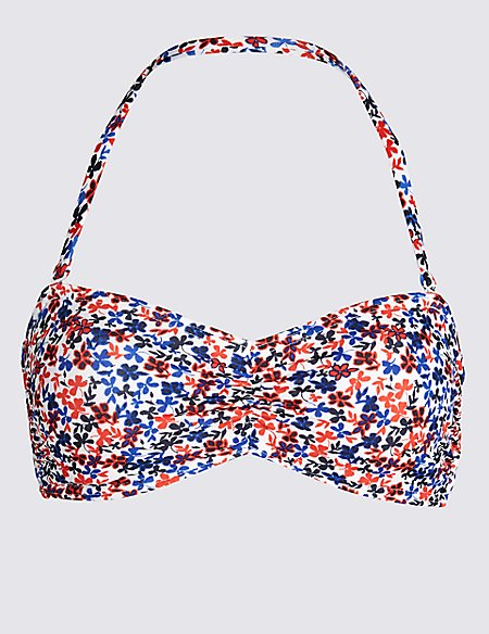 Ditsy Floral Print Bandeau Bikini Top