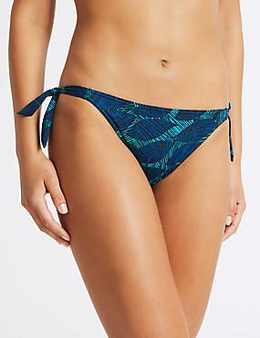 Leaf Print Tie Side Bikini Bottoms
