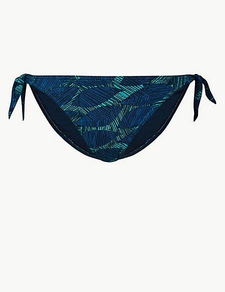 Leaf Print Tie Side Bikini Bottoms