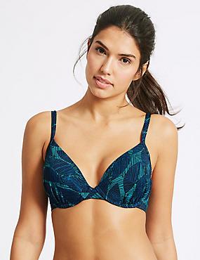 Leaf Print Plunge Bikini Top A-G