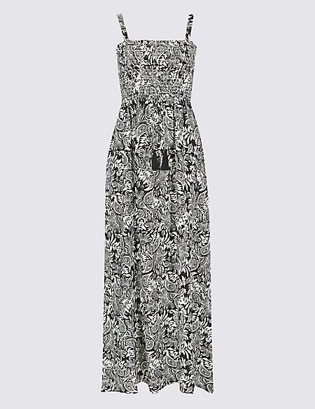 Cheap Fast Delivery Paisley Print Shirred Beach Dress black mix Marks and Spencer Clearance Pictures Latest Collections sk44KfU