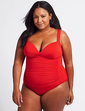 PLUS Secret Slimming™ Ruched Plunge Swimsuit