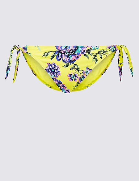 Floral Print Tie Side Bikini Bottoms