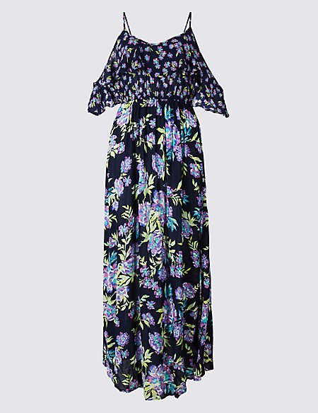 Floral Print Block Frill Beach Dress