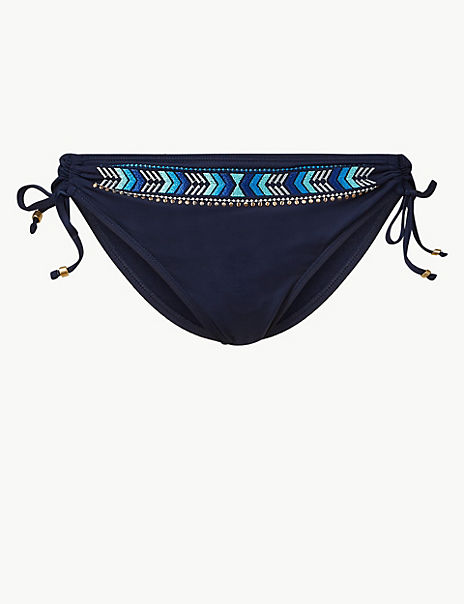Embroidered Hipster Bikini Bottoms