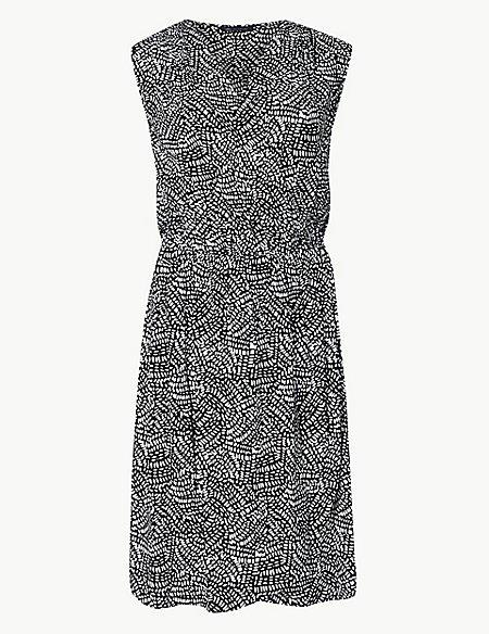 Printed Wrap Beach Dress