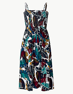 Leaf Print Woven Midi Beach Dress