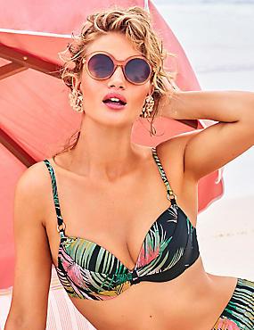 Palm Print Plunge Bikini Top A-E