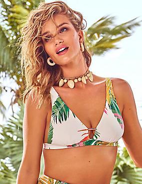 Palm Print Plunge Bikini Top