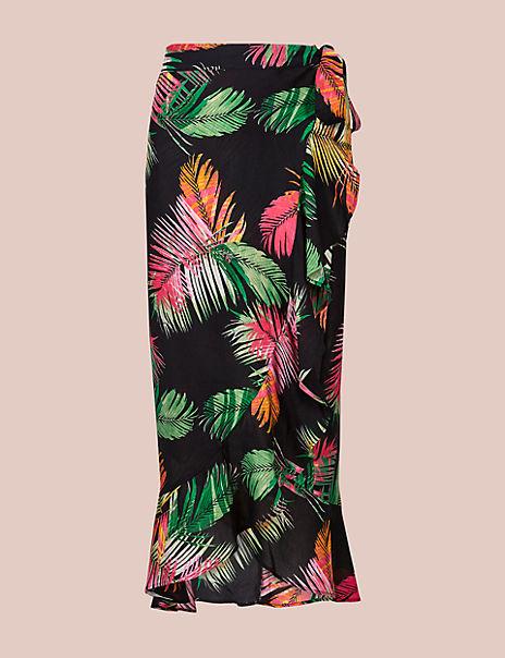 Pure Modal Palm Print Wrap Skirt