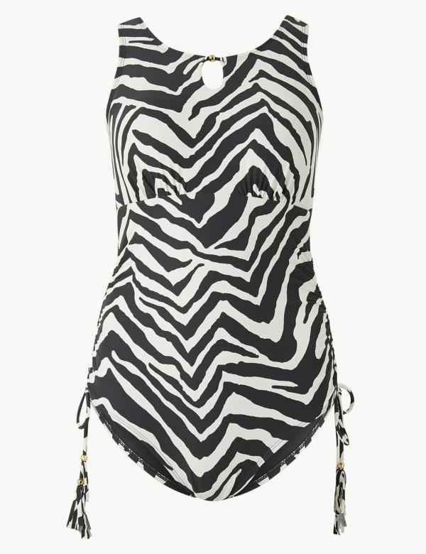 f968d9b52e Post Surgery Zebra Print High Neck Swimsuit